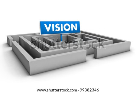 Vision concept with labyrinth and blue goal sign on white background.