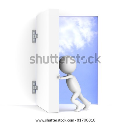 Vision. 3D little human character opens a massive door. Sky background with luminance.