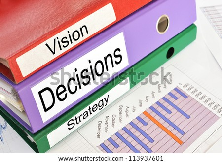 Vision, Decisions, Strategy folders on a financial report