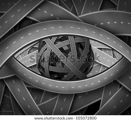 Vision direction business concept with twisted confused roads and highways in the shape of a human eye as a financial symbol of path and leadership to the way forward to focused success.