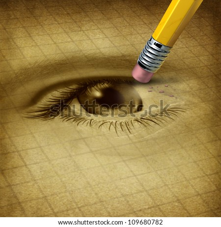 Vision loss ad losing eyesight medical health care concept with a human sight organ being erased by a pencil as a symbol of blindness and ocular disease.