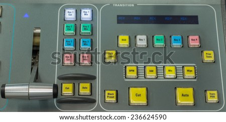 vision mixing panel in a television gallery. #236624590