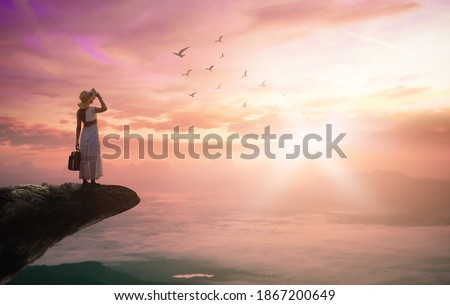 Vision of freedom concept: Silhouette traveler woman with birds flying on mountain sunset background ストックフォト ©