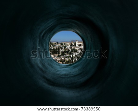 Vision of way through the dark-blue tunnel  to fabulous and miraculous city. El Dorado.