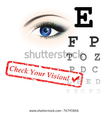 vision test theme with eye and chart