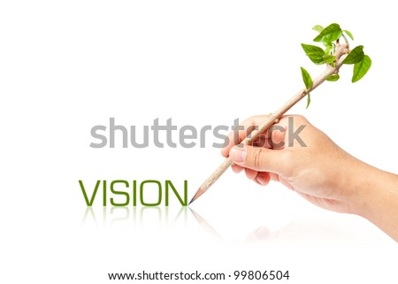 Vision wording with creative pencil with green tree on white backgorund