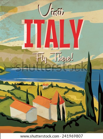 Visit Italy vintage travel poster. Visit Italy classic vacation poster.