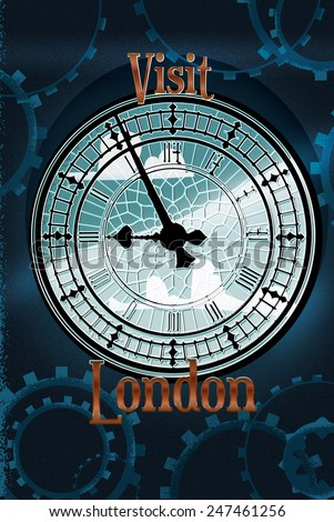 Visit London, Visit London big ben victorian travel poster featuring the clock tower.