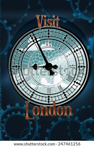 Visit London, Visit London big ben victorian travel poster featuring the clock tower.