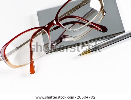 visiting card and eyeglasses