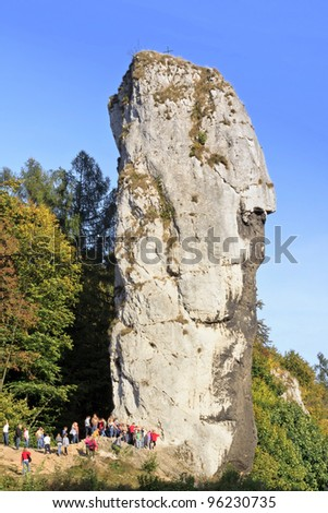 Visitor in National Park in Ojcow in Poland by Rock called Hercules Club