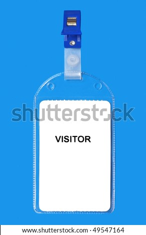 Visitor name badge ID isolated on blue background