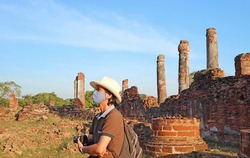 Visitor Wearing Face Mask During the Visit to Wat Phra Si Sanphet Temple Ruins amid COVID-19, Ayutthaya Old City, Thailand