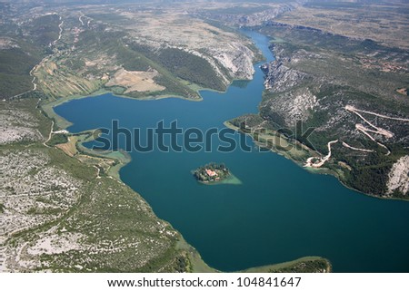 Visovac island in National park Krka, Croatia, aerial view