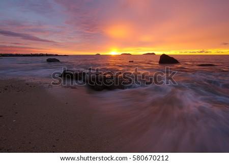 Shutterstock Vista Beach, Kota Kinabalu, Sabah, Malaysia, 22 November 2013: Beautiful sunset at Vista beach.