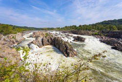 Vista of the Great Falls of the Potomac from within Great Falls Park along the Potomac River in Northern Virginia on a sunny summer day