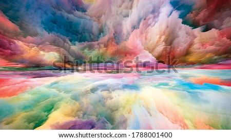 Vistas of Color. Escape to Reality series. Visually pleasing composition of surreal sunset sunrise colors and textures for subject of landscape painting, imagination, creativity and art Foto stock ©