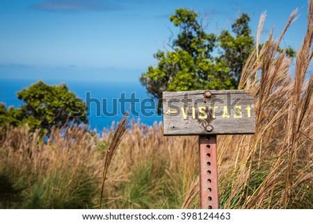 Vistas sign at end of the Awa'awapuhi Trail on Kauai, Hawaii Zdjęcia stock ©
