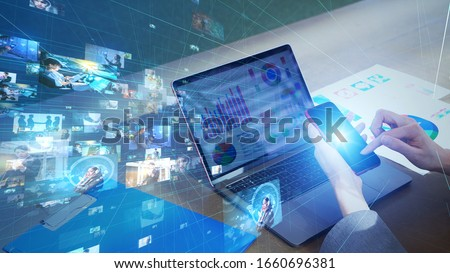 Visual contents concept. Social networking service. Streaming video. communication network. Foto stock ©
