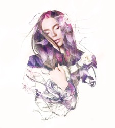Visual digital art. Fantasy woman portrait. Double exposure effects.  Beautiful girl with closed eyes dreaming. Sleeping beauty concept.  Loveliness of youth and feminity