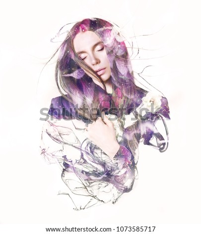 Stock Photo Visual digital art. Fantasy woman portrait. Double exposure effects.  Beautiful girl with closed eyes dreaming. Sleeping beauty concept.  Loveliness of youth and feminity