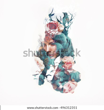 Visual digital art. Fantasy woman portrait. Double exposure effects. Girl with a crown of deer horn and sitting crow in dry branches, hair full of roses and flying birds. Bright deer fantasy make-up