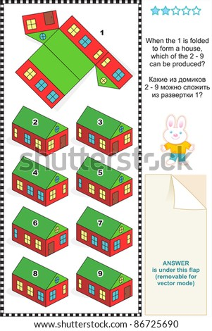 Visual math puzzle: When the 1 is folded to form a model paper house, which of the 2 - 9 can be produced? For vector EPS see image 86725687