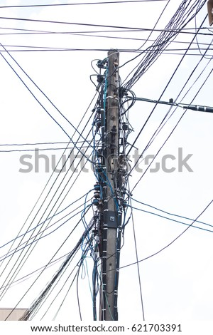 Visual pollution at the power transmission pole