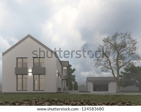 Visualizations of modern house. Foggy autumn weather, contemporary european architecture.