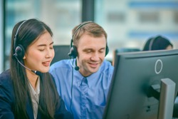 Visually impaired Call center using headphone contract communication with customer,Visually impaired Normal work with human equality