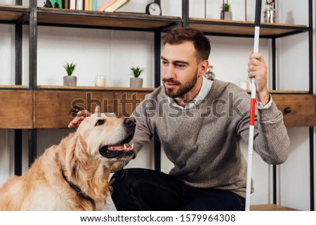 Visually impaired man with walking stick stroking golden retriever at home Foto stock ©