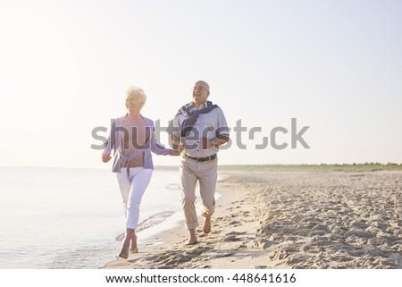 Vital seniors on the beach