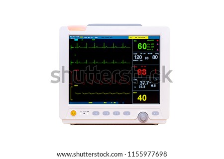 Vital signs and Heart rate monitor with diagram isolated on white background included clipping path #1155977698