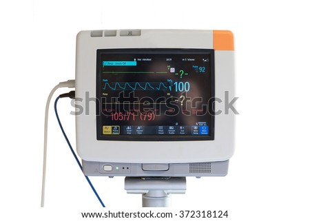 Vital signs monitor on white background. #372318124
