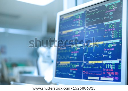 vital signs monitoring of patients in critical care unit (CCU) such as ecg, arterial blood pressure waveform, oxygen saturation, heart rate, pulse rate