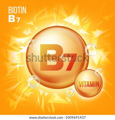 Vitamin B7 Biotin. Vitamin Gold Oil Pill Icon. Organic Vitamin Gold Pill Icon. Medicine Capsule, Golden Substance. For Promo Ads Design. Vitamin Complex With Chemical Formula. Illustration