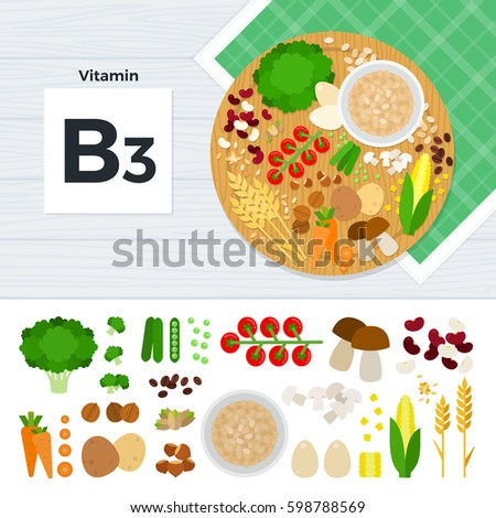 Vitamin B3 flat illustrations. Foods containing vitamin B3 on the table. Source of vitamin B3: carrot, potato, nuts, corn, mushroom, beans isolated on white background