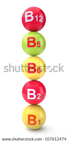Vitamin b on a white background