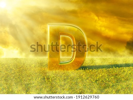 Vitamin D illuminated by the rays of the sun on grass. Sunlight is an excellent source of this nutrient that strengthens the immune system. 3D rendering Foto stock ©