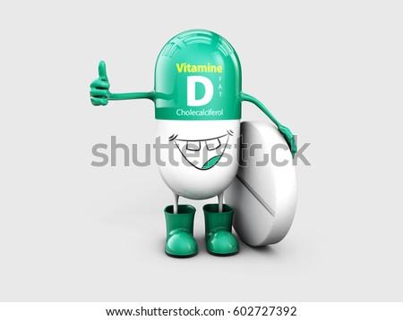 Vitamin D shining pill cartoon capsule. 3d illustration