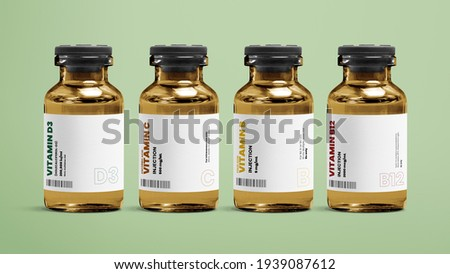 Vitamin injection vial glass bottles on green background Foto stock ©