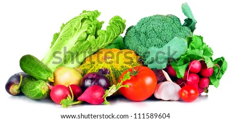 vitamin set  vegetables from large turnip beets zucchini orange  yellow green sprigs radish bright and fresh green salad leaves tomato garlic eggplant cucumber of fresh isolated on white background