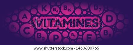 Vitamines names. Vitamines in the bubbles foam