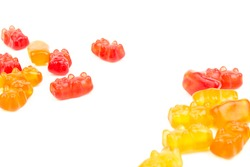 vitamins for children like jelly candy on white background, closeup