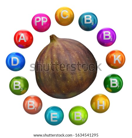Vitamins in common fig, 3D rendering isolated on white background Stock foto ©