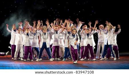 "VITEBSK, BELARUS - JULY 1: Unidentified children from dancing group ""Belka"" at a concert ""Dancing group Belka collects friends"" on July 1, 2011 in Vitebsk, Belarus"