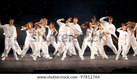 "VITEBSK, BELARUS - JULY 1: Unidentified children from dancing group ""Belka"" at a concert ""Dancing group ""Belka"" collects friends"" on july 1, 2011 in Vitebsk, Belarus - stock photo"
