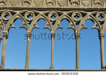 Viterbo, medieval town in central Italy - gothic arches detail
