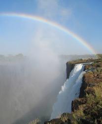 Vitoria Falls rainbow in Zambia