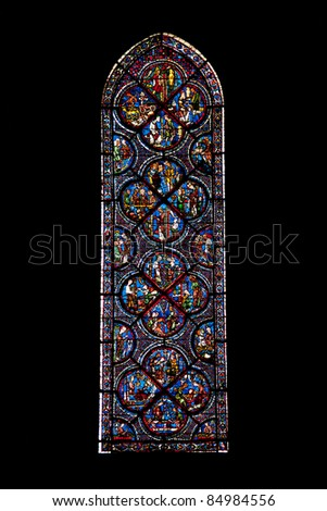 Vitrages of famous Notre Dame cathedral in Chartres, France